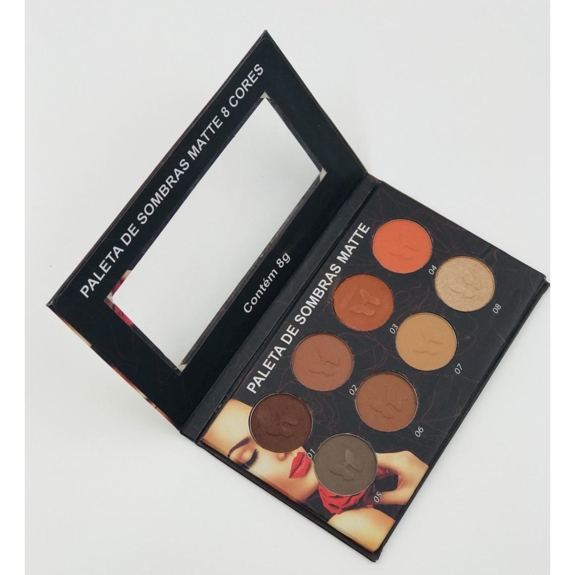 Maquiagem para Revenda - Paleta de sombras matte 8 cores